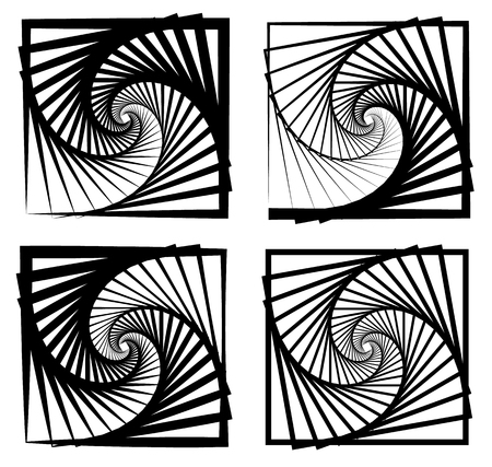 inwards: Various abstract spiral, vortex effects. Spiral, vortex effect with concentric shapes blended inwards. 4 different version.