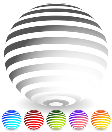 striped band: Striped spheres in 6 colors. 3d geometric orbs, balls. Generic icons, design elements.
