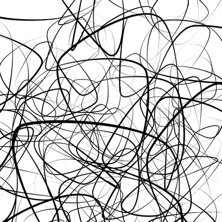 curlicue: Random squiggly, chaotic lines. Artistic monochrome image.
