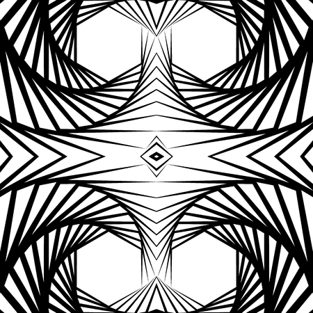 vertigo: Abstract mirrored vortex background, pattern. Seamlessly repeatable pattern with spirally effect. Abstract monochrome graphic Illustration