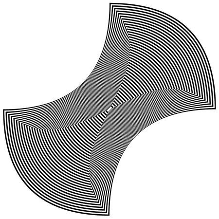 concave: Abstract rectangle shape - Squeezed, concave black and white geometric rectangular element.