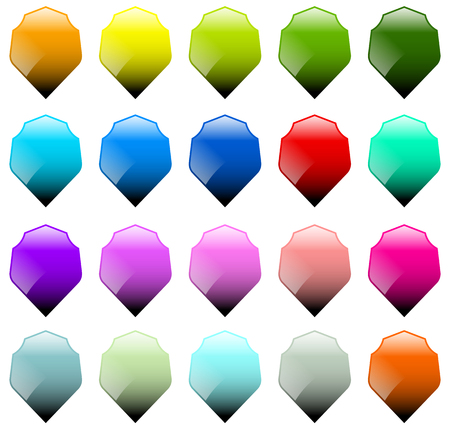 sheild: Set of 16 shield shapes with different colors Illustration