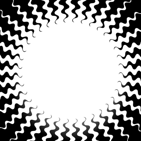 inverse: Radiating burst shape with jagged - wavy rays. Inverse artistic background with blank space Illustration