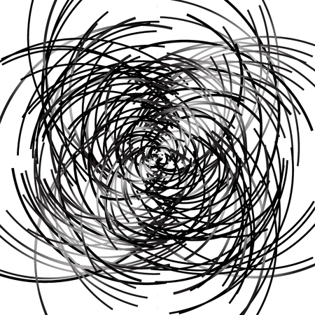 Scattered curved, curvy lines. Intersecting lines textures. Abstract grayscale artistic graphic Illustration