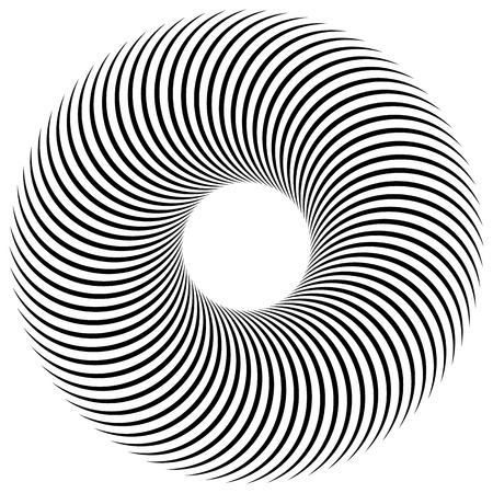 tweak: Abstract spiral, vortex element. Radiating, radial bent lines. Monochrome element isolated on white.