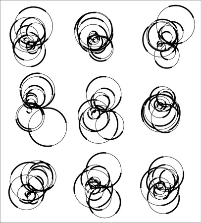 jumbled: Scattered, random circle element set - Set of 9 monochrome geometric shape. Illustration