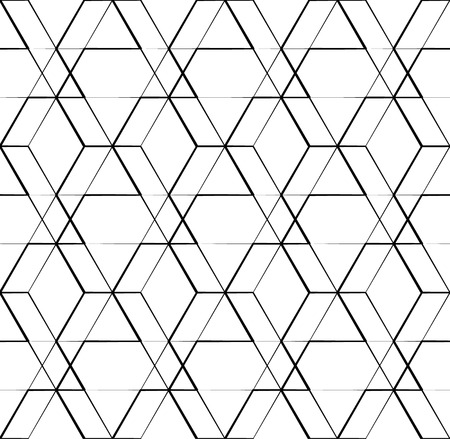 bw: Grid, mesh geometric seamlessly repeatable pattern, monochrome background, texture Illustration