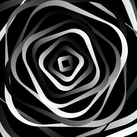 rotating: Rotating rounded corner squares. Abstract monochrome graphic.