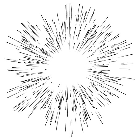 Abstract explosion, bursting effect, radial, radiating edgy lines. Abstract monochrome graphics 일러스트