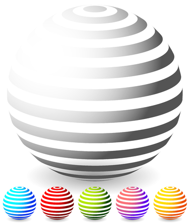 generic: Striped spheres in 6 colors. 3d geometric orbs, balls. Generic icons, design elements.