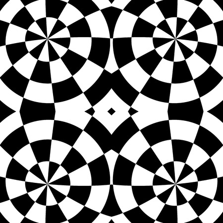 Mirrored symmetrical pattern. Geometric monochrome background. Tessellating, mosaic texture with high contrast. Illustration