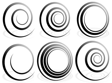 volute: Spiral shapes. Set of volute, snail decorative elements.