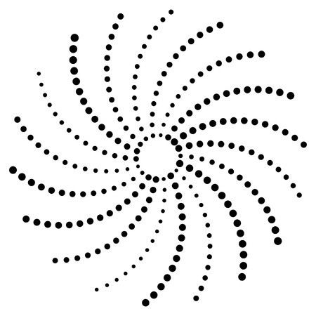gyration: Artistic circular concentric design element with random dots. Dotted spiral. Illustration
