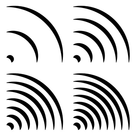 quarter: Signal shapes, generic quarter circles, bent lines with different density for emission, radiation, transmission, aerial-wireless connection concepts Illustration