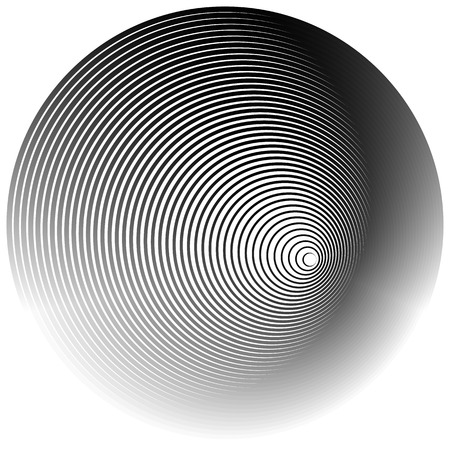 radiating: Concentric radial, radiating circles - Abstract monochrome geometric element
