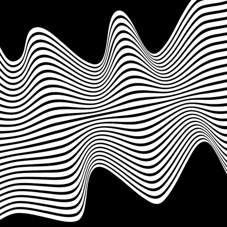 tweak: Wavy, waving lines. Lines, stripes with distortion effect. Abstract monochrome background, pattern
