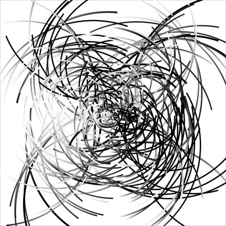 mess: Scattered curved, curvy lines. Intersecting lines textures. Abstract grayscale artistic graphic Illustration