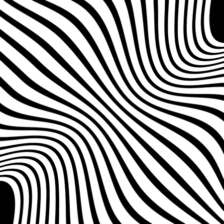 sinuous: Wavy, waving lines. Lines, stripes with distortion effect. Abstract monochrome background, pattern