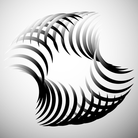 intersecting: Abstract element with intersecting curved lines. Grayscale geometric abstract shape.