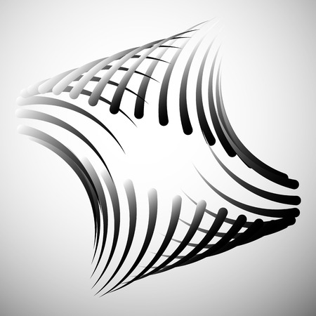 tweak: Abstract element with intersecting curved lines. Grayscale geometric abstract shape.
