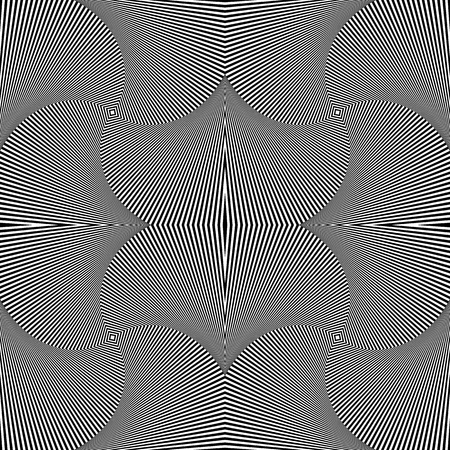 volume: Abstract geometric monochrome background - Mosaic of 4 rotating squares. Seamlessly repeatable.