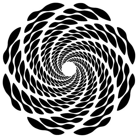 centric: Circular, rotating spiral, vortex element, motif. Abstract geometric shape. Non-figural monochrome illustration.