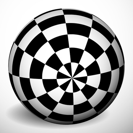 spatial: Checkered 3d sphere with shading and shadow. Orb, ball with squares texture. Spatial globe isolated on white