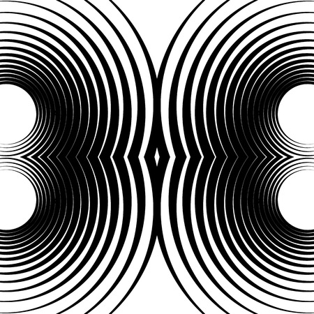 symmetrical: Symmetrical repeatable pattern with concentric circles, rings. Circular geometric pattern. Black and white, monochrome background