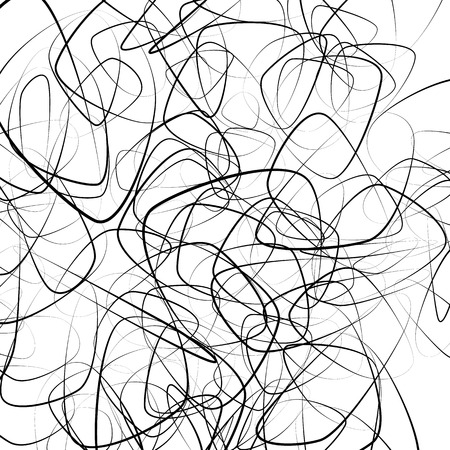 Aleatorios onduladas, líneas caóticas. monocromo imagen artística.
