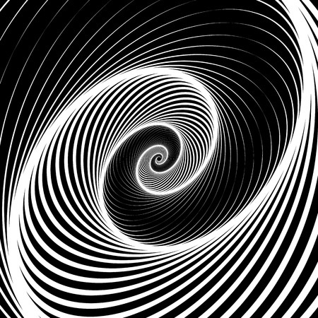 Spiral, volute background - Rotating radiating, concentric ellipse, oval shapes. Black and white pattern. Illustration