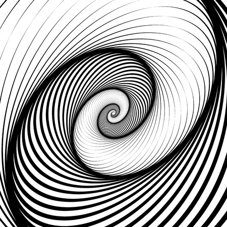 mesmerize: Spiral, volute background - Rotating radiating, concentric ellipse, oval shapes. Black and white pattern. Illustration