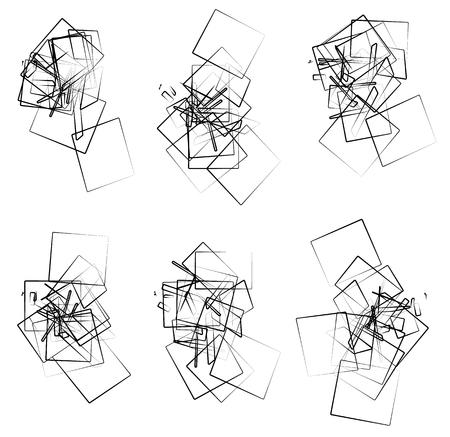 entangled: Random, scattered angular elements, shapes. Set of 6 abstract monochrome rectangular elements