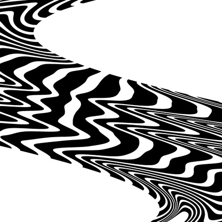 pucker: Wavy, waving lines. Lines, stripes with distortion effect. Abstract monochrome background, pattern