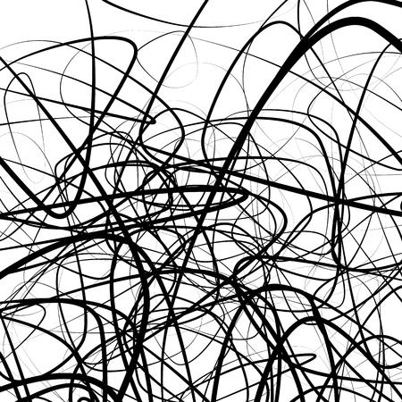 Aléatoires squiggly, lignes chaotiques. l'image artistique monochrome.