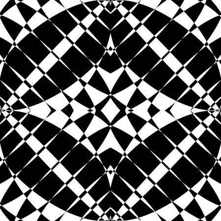 contrast: Mirrored symmetrical pattern. Geometric monochrome background. Tessellating, mosaic texture with high contrast. Illustration