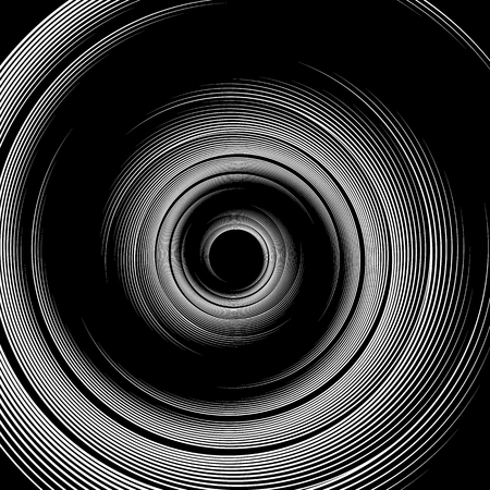 curvature: Spiral pattern. Vortex, volute visual effect - Abstract monochrome illustration.