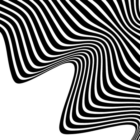 snaky: Wavy, waving lines. Lines, stripes with distortion effect. Abstract monochrome background, pattern