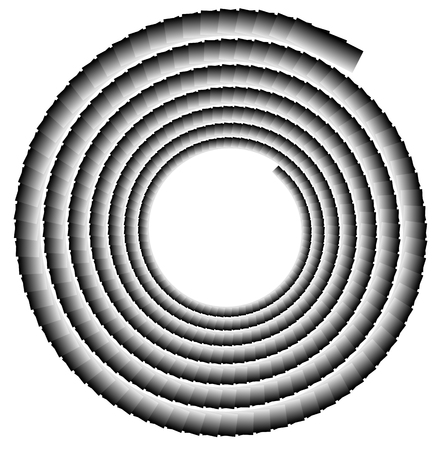 volute: Spiral shape made of overlapping rectangles. Abstract monochrome volute, spiral shape Illustration