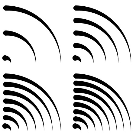 radio beams: Signal shapes, generic quarter circles, bent lines with different density for emission, radiation, transmission, aerial-wireless connection concepts Illustration