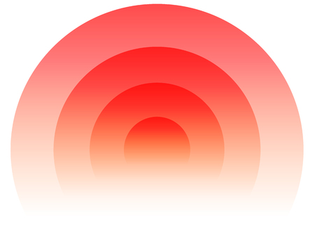 epicentre: Radial, radiating circular element. Graphics for transmission, emission, radiation, spreading, expanding themes. (Circles fade to transparent with opacity mask.) Illustration
