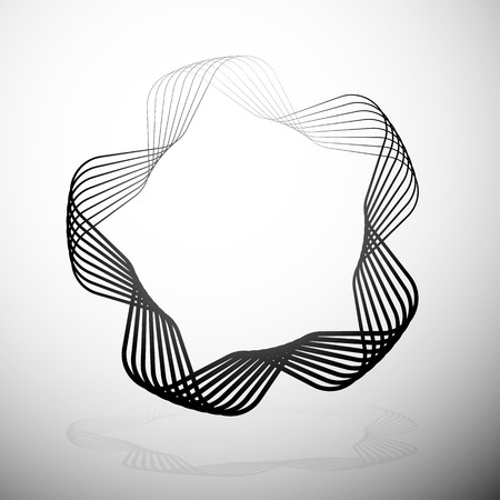 rounded: Abstract rounded motif. Intersecting lines with grayscale gradient fill