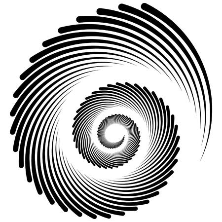 dizziness: Spiral, vortex, whorl, swirl shapes. Abstract element(s). Illustration