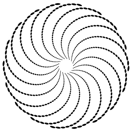 Abstract radial dotted element - dotted motif on white