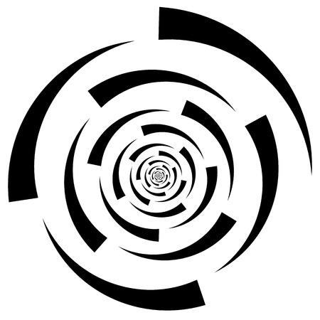 curl whirlpool: Monochrome abstract circular element. Spiral, vortex shape. Illustration