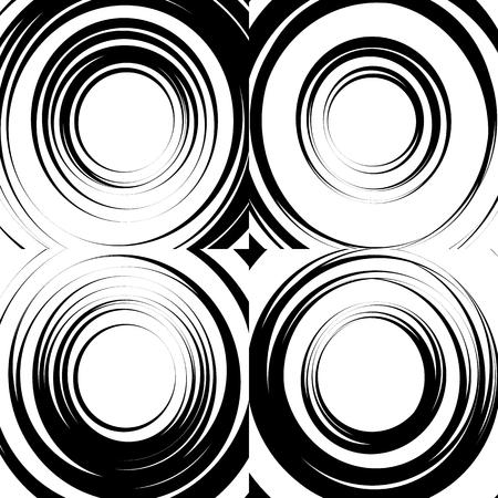epicentre: Set of concentric abstract circular backgrounds. Irregular, random circles, rings pattern set Illustration
