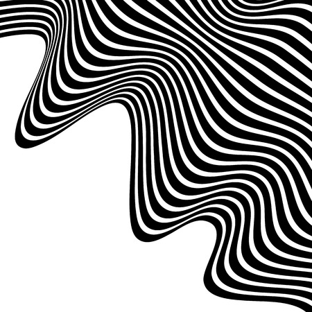 crinkle: Wavy, waving lines. Lines, stripes with distortion effect. Abstract monochrome background, pattern