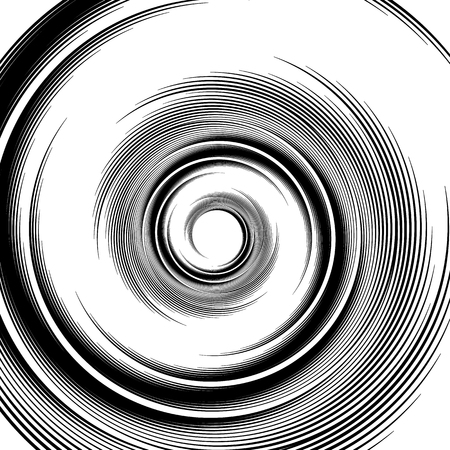 Spiral pattern. Vortex, volute visual effect - Abstract monochrome illustration.