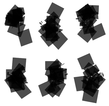 blocky: Random, scattered transparent rectangle, square element set. Set of 6 abstract monochrome geometric graphics. Illustration