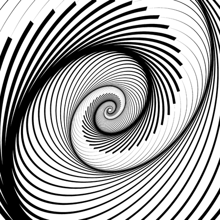 eyestrain: Spiral, volute background - Rotating radiating, concentric ellipse, oval shapes. Black and white pattern. Illustration