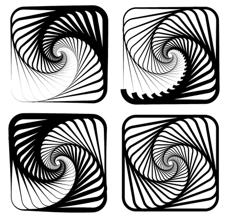 whorl: Various abstract spiral, vortex effects. Spiral, vortex effect with concentric shapes blended inwards. 4 different version.